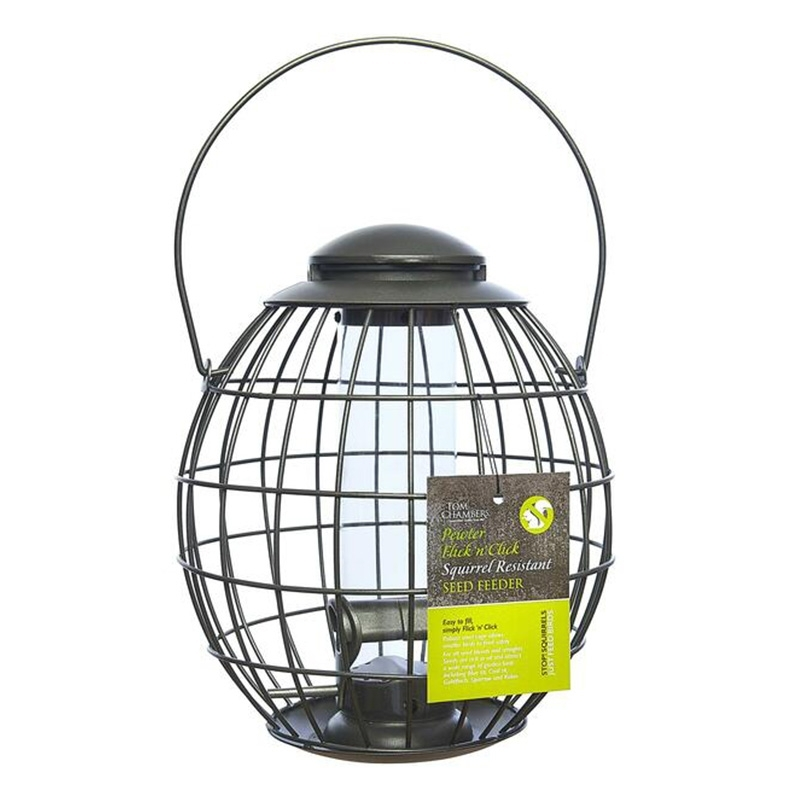 Pewter Flick 'n' Click Squirrel Resistant Seed Feeder