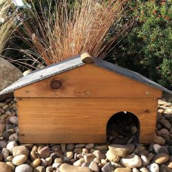 Wooden Hedgehog House With Slate Roof